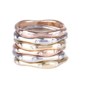 Tri Tone Stackable Bands - Set of 6 Brand NEW!